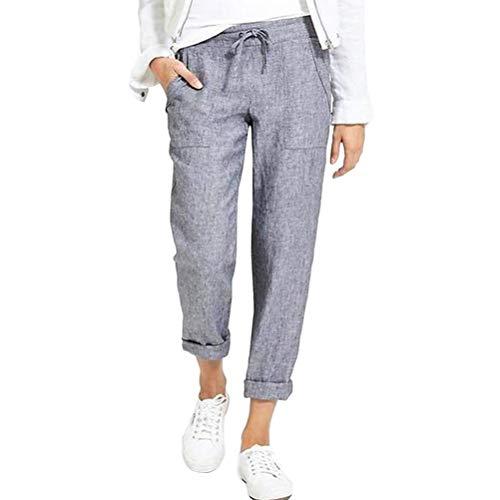Tomwell Pantalon Lin Coton Femme Été Décontractée Pantalon Ample Léger Respirant Taille Elastique Pants 7/8 Casual Grande Taille de Plage A Gris 3XL