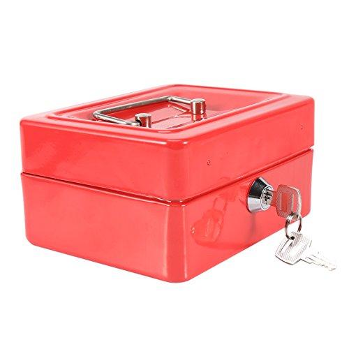 Caja de dinero, 1 caja pequeña de acero de 4 colores Caja de seguridad con 2 llaves Caja de dinero pequeña de metal para niños, para viajes de oficina en casa (pequeña)(rojo)