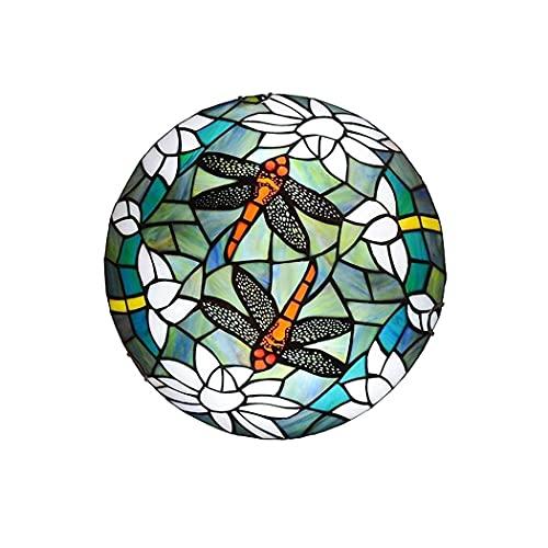 DALUXE Luz de Techo de libélula, luz de Techo de Pasillo de Vidrio de Manchas LED, 85-265V, luz de decoración Retro para Dormitorio/Sala de Estar