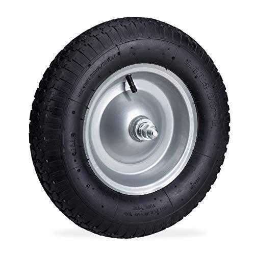 Relaxdays, schwarz Schubkarrenrad 4.80 4.00-8, luftbereiftes Ersatzrad inkl. Achse, Stahlfelge, Komplettrad bis 120 kg