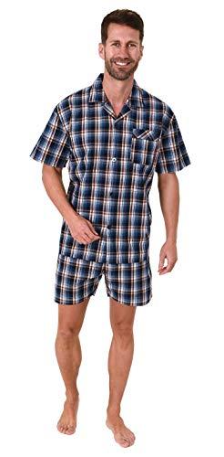 Edler Herren Pyjama Shorty Kurzarm Schlafanzug gewebt zum Knöpfen im Karo Design - 65345, Farbe:blau, Größe:56