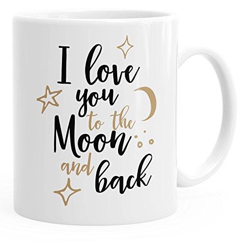 MoonWorks - Taza de café con texto 'I Love You to the Moon and Back (texto en inglés), color blanco