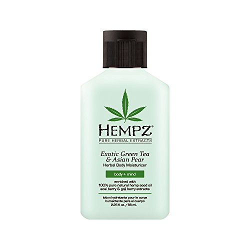 Hempz Exotic Natural Herbal Body Moisturizer with Pure Hemp Seed Oil, Green Tea and Asian Pear, 2.25 Fluid Ounce - Pure, Nourishing Vegan Skin Lotion for Dryness and Flaking with Acai and Goji Berry