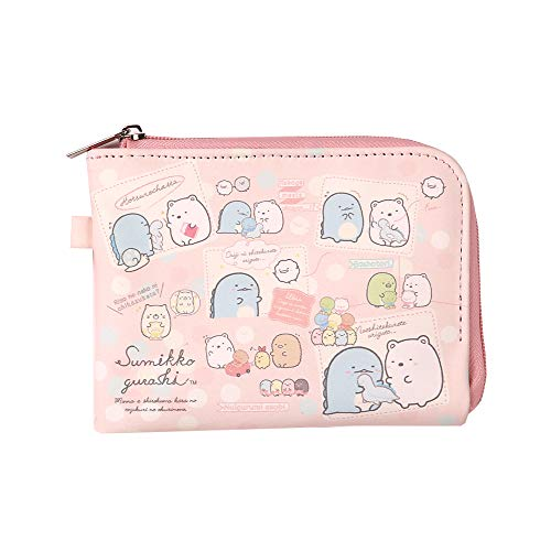 Sumikko Gurashi-Cute Mini Card Neck Pouch-Money Clip and Card Holder Wallet, Zipper Corner Wallet (pink)