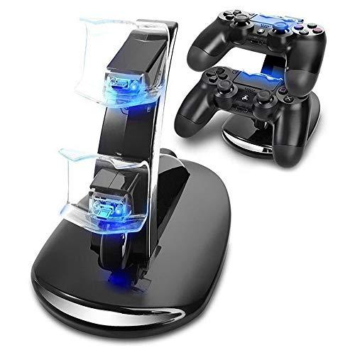 Ashey PS4-Zubehör Ladestation, Dual Micro USB-Ladestation, Joystick PS4, für Playstation 4 Dualshock4 Controller-Schnellladegerät