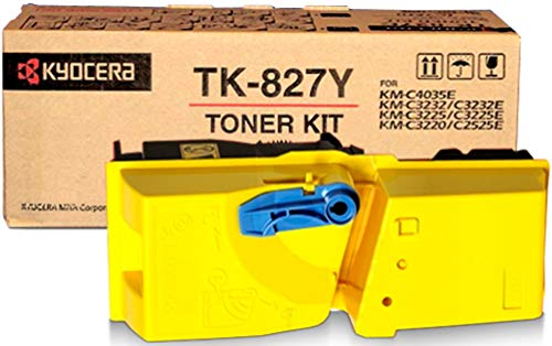 Kyocera 1T02FZAUS0 Model TK-827Y Yellow Toner Cartridge For use with Kyocera KM-C2520, KM-C2525, KM-C2525E, KM-C3225, KM-C3225E, KM-C3232, KM-C3232E, KM-C4035 and KM-C4035E Multifunction Printer
