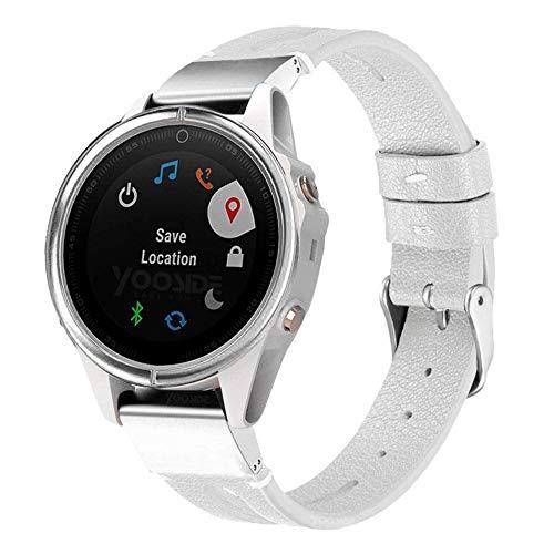 YOOSIDE Fenix 5S/5S Plus Armband, Echtleder+Edelstahl QuickFit Armband Ersatzarmband Uhrenarmband für Garmin Fenix 5S/Fenix 5S Plus Smartwatch,Weiß