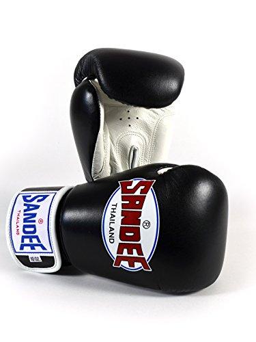 Sandee Authentic Velcro Leather Boxing Glove Black White 16