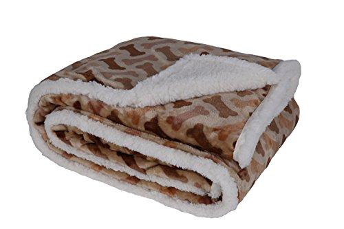"Longrich Flannel Dog Bone Print & Ultra Soft Sherpa Throw Blanket, 60"" L X 50"" W, Taupe"