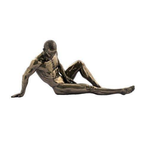 CAPRILO Figura Decorativa de Resina Hombre Desnudo Tumbado Adornos y Esculturas. Decoración Hogar. Regalos Originales. 12 x 26 x 8 cm.