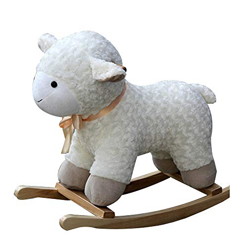 Great Deal! YUMEIGE Rocking Ride-Ons Toddler Rocking Horse Sheep、Wood+ Plush,Rocking Pony Childr...