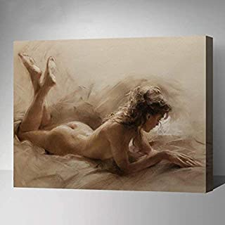 Paint-by-Number Kits for Adults - Nude Naked Lady - Includes Brushes, Paints and Numbered Canvas - 16x20 Inch - Great for kids and adults,with Fram