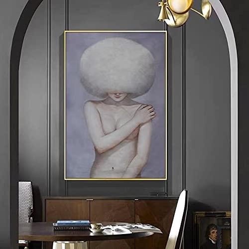 Arte de personaje moderno Mujer con sombrero, carteles e impresiones, pinturas en lienzo, imágenes artísticas de pared para la decoración de la sala de estar 60x90 CM (sin marco)