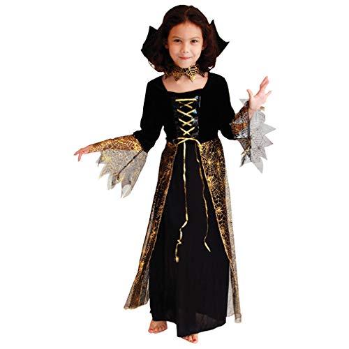 GIFT TOWER Fasching Vampir Kostüm Kinder Mädchen Dracula Vampirkostüm Kleinkinder Kinderkostüme Karneval (Mehrfarbig, M/für 4-6 Jahre)