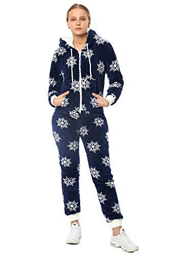 Teddyfleece Teddyfell Jumpsuit flauschig und kuschelig One Piece Overall warm (D.Blau2918, XL~42)