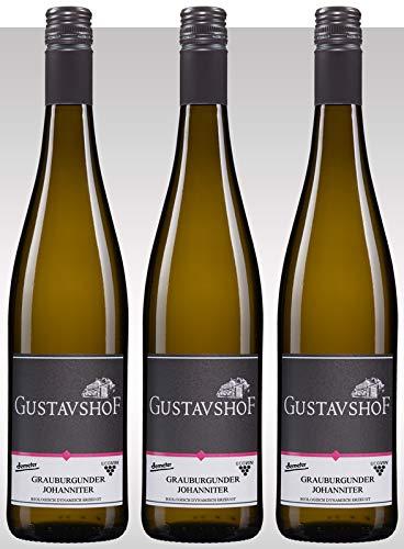 Gustavshof: 3 Flaschen Grauburgunder mit Johanniter. Ein hochwertiger Allrounder unter den Weißweinen. Demeter zertifiziert Bio Vegan nachhaltig