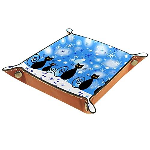 XiangHeFu Bandeja de Cuero Gato Negro nevado Almacenamiento Bandeja Organizador Bandeja de Almacenamiento Multifunción de Piel para Relojes,Llaves
