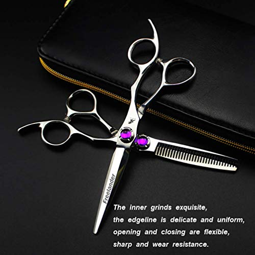 Manualks 6CR hohe Härte Friseur Scheren Salon Friseur Friseur Haare schneiden und Haar dünner Friseur professionelle Werkzeuge (Scissors Set)