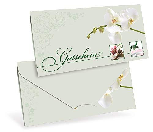 Gutscheinkarten (10 Stück) - Geschenkgutscheine für Kosmetik, Wellness, Beauty - DIN lang Faltkarte verschließbar, blanko Vordruck zum Eintragen der Werte