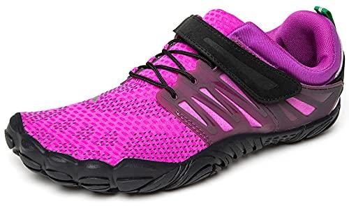 SAGUARO Hombre Mujer Minimalistas Zapatillas de Deporte Trail Running Calzado Caminar Cómodas Senderismo Ciclismo Ligeras Deportivas Andar Trekking Montaña Agua Exterior Interior(058 Púrpura, 40 EU)