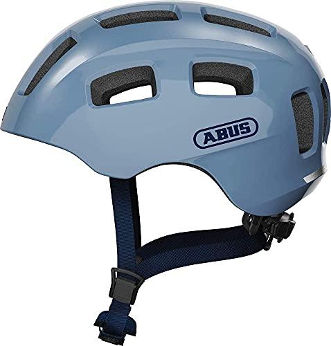 ABUS Jugendhelm Youn-I 2.0 - Fahrradhelm mit Licht für Kinder, Jugendliche und junge Erwachsene - für Mädels und Jungs - Hellblau, Größe S