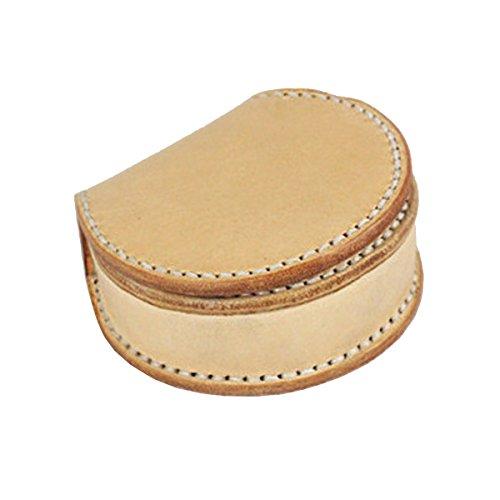 UER Unisex Handgefertigte Mini-Geldbörse aus Rindsleder, rund, mit Knopfverschluss, Beige (beige), Einheitsgröße