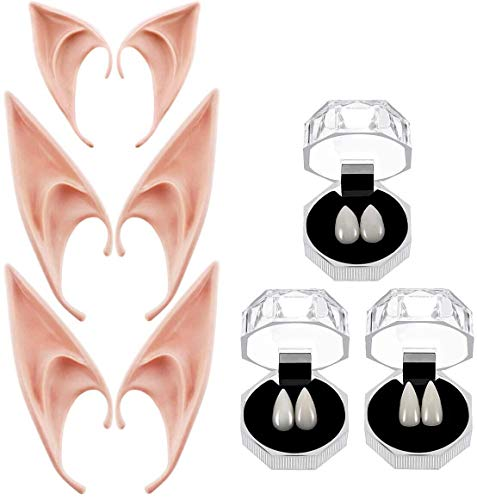 JioJioLin Vampire Teeth Fangs Elf Ears Boxes for Halloween Costume Accessory Party Favors