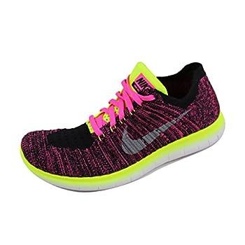 Nike Girls Free RN Flyknit Running Shoes  5  M  US Big Kid Pink Blast/Metallic Silver/Volt/Black/White