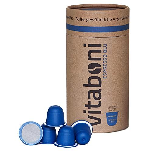 Vitaboni - BIO ESPRESSO BLU | 30 nachhaltige Kaffeekapseln für Nespresso®¹-Kapselmaschinen | BIO-Kaffee aus Peru & Uganda | kompostierbare & alufreie Kaffeekapseln | Nespresso®¹ kompatibel