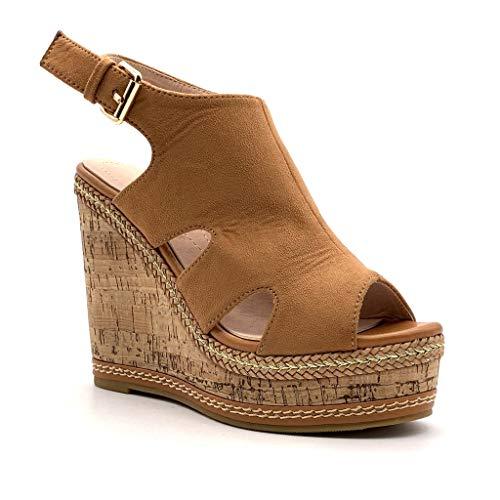 Angkorly - Damen Schuhe Sandalen Schuh-Mule - Gedeckt - Vintage/Retro - Plateauschuhe - mit Stroh - Kork Keilabsatz high Heel 12 cm - Camel 7 MK573 T 40