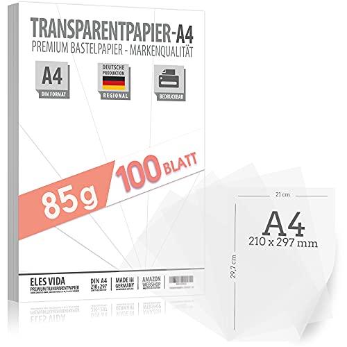 100 Blatt Transparent Zeichenpapier A4 85 g/m² BEDRUCKBAR - Pergamynpapier - Pergamentpapier Transparenzpapier - Zeichnen Pauspapier– Bastelpapier klar durchsichtig - für Tintenstrahl und Laserdrucker