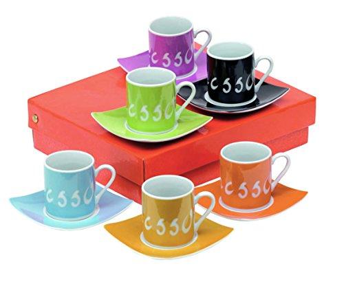 Vertrieb durch Preiswert & Gut Espresso Tassenset Porzellan 6 Tassen & 6 Unterteller. Grösse 24 x 20,5 x 6 cm