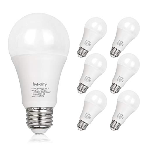 Dimmable 100W Equivalent A19 LED Light Bulb, 1600 Lumens, 16W, 5000K Daylight, E26 Medium Base, UL Listed (6 Pack)