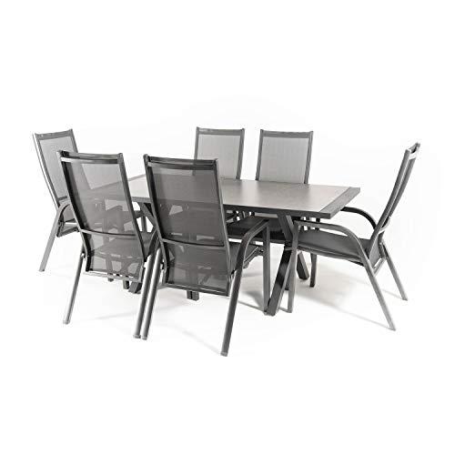 Edenjardi Conjunto Mesa y sillas de Exterior, Aluminio Reforzado Color Antracita, Mesa 180 cm + 6 sillones reclinables, Patas en Forma de X