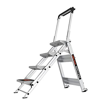 Little Giant Ladder Systems 10410BA Safety Step Ladder Four Step with Bar 2 x 11-Inch