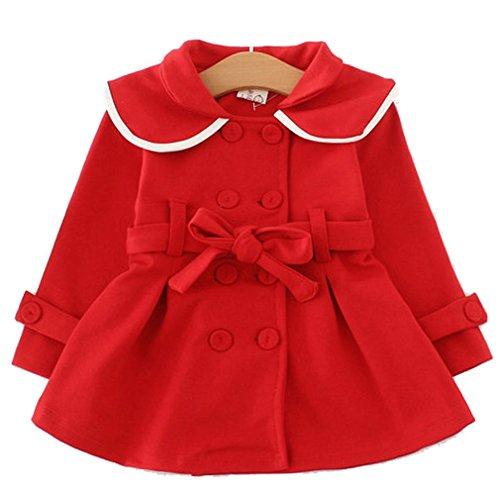 Baby Girls Long Sleeve Outwear Windbreaker Coat (18-24Months, Red)