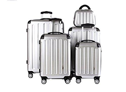 5 Teiliges Kofferset M L XL XXL + Beautycase Polycarbonat/ABS Trolley Koffer Bordcase Set Hartschale Reisekoffer Kofferset TSA Schloss (Silber) + Ersatz TSA...