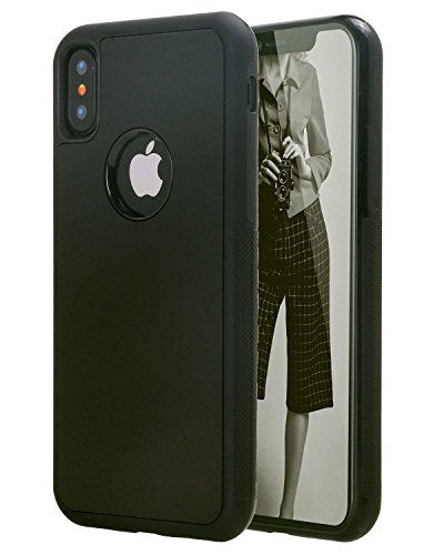 Magico Nano Sticky Hard Anti-gravity Selfie Sticky Galaxy S8 Plus iPhone 6 6S Phone Case, Bycast, Nero, iPhone X 5.8'