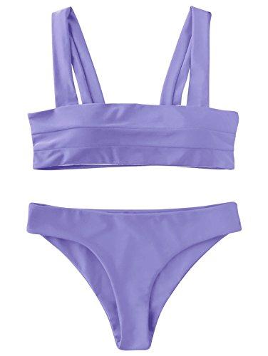 ZAFUL Women's Wide Straps Padded Bandeau Bikini Set Purple M