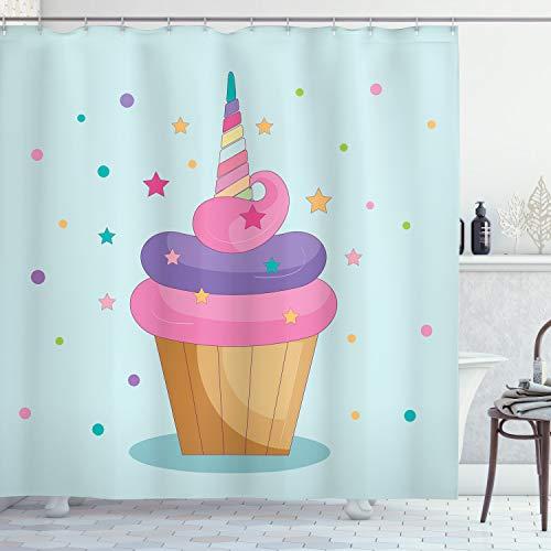 ABAKUHAUS Cupcake Duschvorhang, Einhorn Kuchen Fee Regenbogen, mit 12 Ringe Set Wasserdicht Stielvoll Modern Farbfest & Schimmel Resistent, 175x200 cm, Mehrfarbig