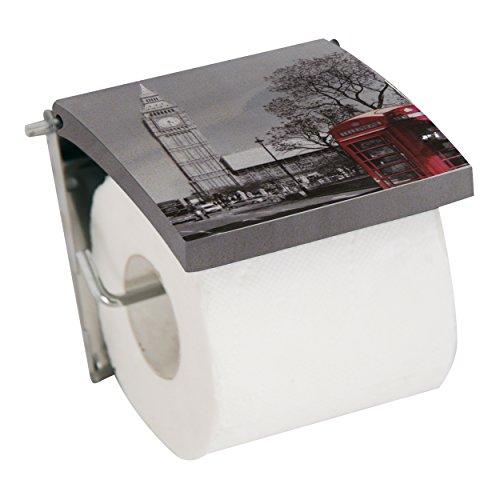 MSV 140574 Dérouleur WC Motif Londres MDF/INOX 13 x 15 x 11,5 cm