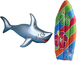 Inflatable Surf Board and Shark Luau Decoration Theme Beach Pool Toy