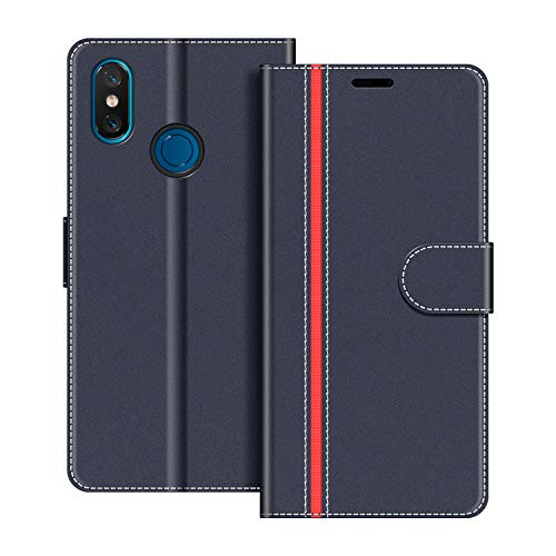 COODIO Handyhülle für Xiaomi Mi 8 Handy Hülle, Xiaomi Mi 8 Hülle Leder Handytasche für Xiaomi Mi 8 Klapphülle Tasche, Dunkel Blau/Rot