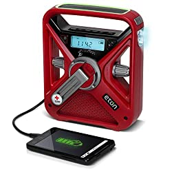 Image: American Red Cross Emergency NOAA Weather Radio, AM/FM/WX Radio with Solar, 2600 mAh Lithium Ion Battery and Crank power, USB Smartphone Charger and LED Flashlight and Red Beacon ARCFRX3+WXR