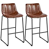 Yaheetech Bar Stools 30'' Fashionable Height Pub Stool Chairs PU Leather Chairs with Backrest Furnished Settle Industrial Armless Stools Home Kitchen Bar Metal Legs Set of 2, Brown