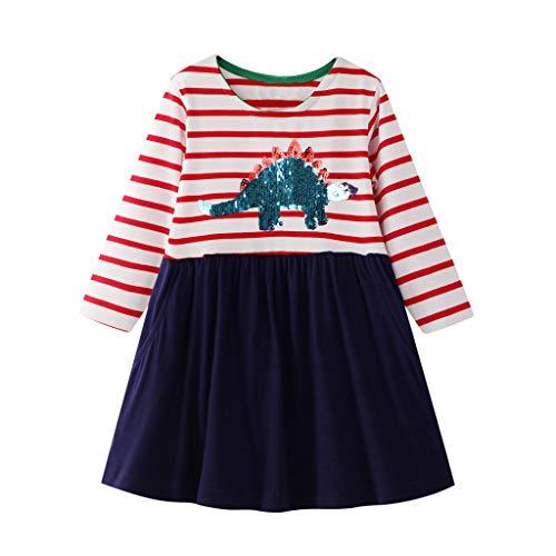 Fenverk Mädchen Kleider Streifen Langarm Baumwolle Herbst Winter T-Shirt Kleid Herbst Kleider Freizeitkleid Bunt Print Stickerei Wendepailletten Kleidung Gr. 80-128(A Marine,5-6 Jahre)