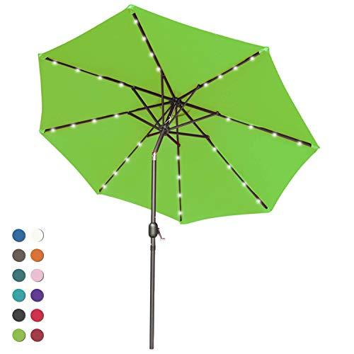 ABCCANOPY 9FT Patio Umbrella Ourdoor Solar Umbrella LED Umbrellas with 32LED Lights, Tilt and Crank Table Umbrellas for Garden, Deck, Backyard and Pool,12+Colors, (Lime Green-1)