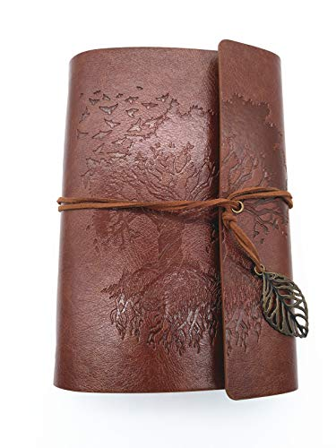 Ancient Tree Patten Vintage PU Leather Cover Loose Leaf Blank Refillable Travel Journal Diary Notebook With Unlined Paper (Brown, A6(7 inch))