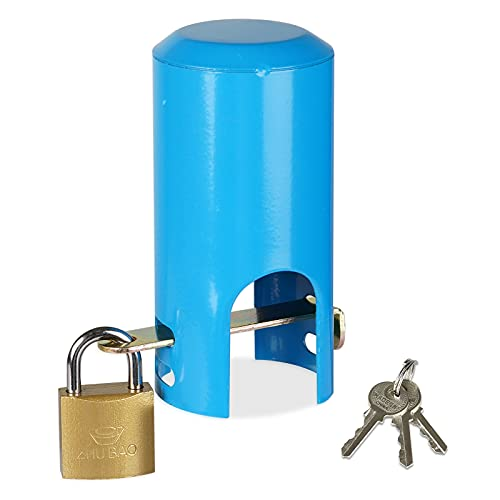 Photo of Dytiying Outdoor Faucet Lock System Child Safty Anti-Theft Water Faucet Lock Multifunctional Iron Water Tap Lock Protective Lock for Park Garden (Blue)