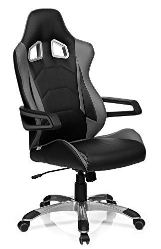 hjh OFFICE GAME PRO I - Silla gaming o de oficina, piel sintética, color negro y gris